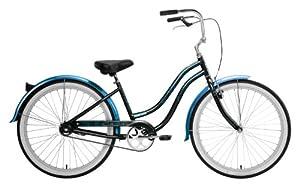 Nirve Women's Beach Blossom 1 Speed Cruiser Bicycle (Black, 16-Inch Frame/26-Inch Wheels)