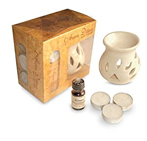 Micro 100 Tools Pure Source India Ceramic Aroma Set with 10 Ml Lemon Grass aroma oil and 4 tea candles
