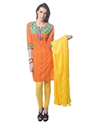 Saving Tree Orange Cotton A Line Suit With Matching Contrast Legging And Dupatta - B00QIEHZ8C