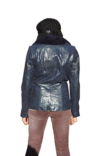 New Blue Printed Lamb Leather Jacket with detachable Rex Rabbit Collar - S