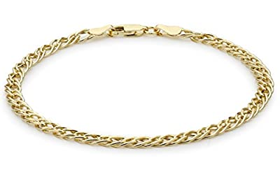 Carissima 9ct Yellow Gold Double Diamond Cut Curb Bracelet 19cm/7.5""