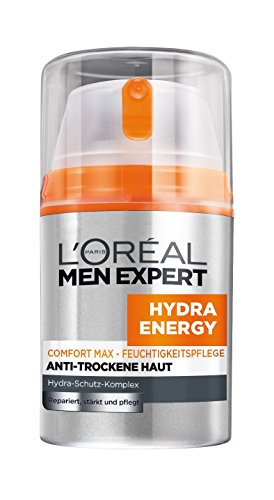 L'Oréal Men Expert Hydra Energy Comfort Max Feuchtigkeitspflege Anti-Trockene Haut - 24h Feuchtigkeitscreme für Männer (stärkt und pflegt / fettet nicht / ohne Alkohol), 1er Pack (1 x 50 ml)