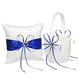 Remedios 2 Heart Rhinestones Ivory Satin Flower Girl Basket And Ring Pillow Set, Royal Blue