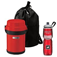 Zojirushi SL-JAE14RU Mr Bento Stainless Lunch Jar in Apple Red + Polar Water Bottle 24oz Red from Zojirushi