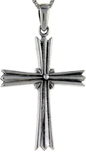 Sterling Silver Cross Pendant, 1 3/4 inch tall