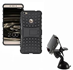 Hard Dual Tough Military Grade Defender Series Bumper back case with Flip Kick Stand for LETV IS + 360 Degree Car Mobile Holder Mount Bracket Holder Stand By Carla Store.
