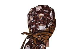 Surgical Scrub Hat Cap Ponytail Cappucino Coffee Lovers / Brown Swirl from Scrumptious Scrub Hatz