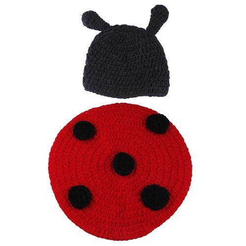 Gem New Baby Newborn Boy Girl Lovely Cartoon Ladybug Design Crochet Cotton Knit Animal Beanie Hats Cap Diaper Cover Costume Set Photography Photo Prop 3-6 Months