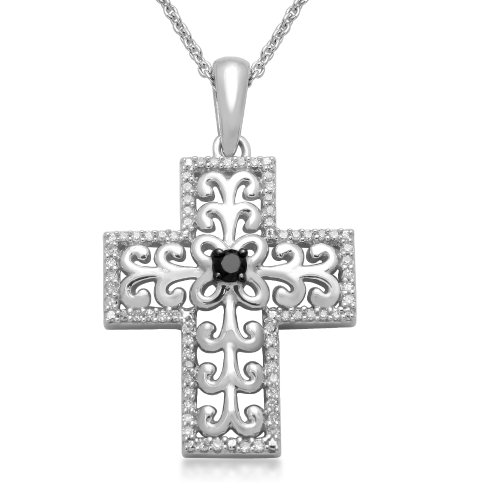 Sterling Silver Black and White Diamond Cross Pendant Necklace (1/4 cttw, I-J Color, I3 Clarity), 18