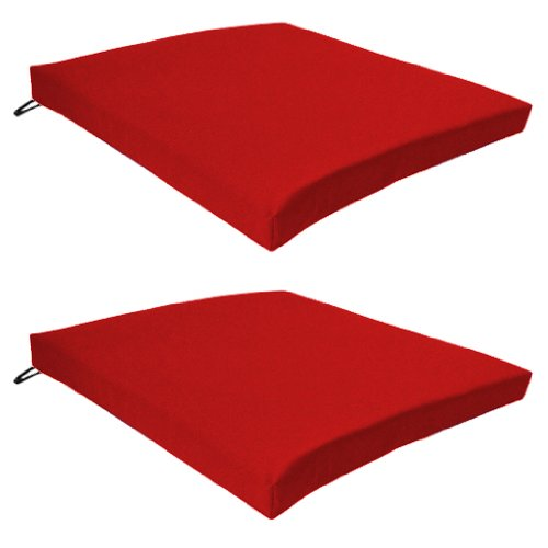 Garden Chair Seat Pad / Cushion 2 Pack in Red, Fits Securely with Tie Strings on Back. Great for Indoors and Outdoors, Made from High Quality Water Resistant Material.