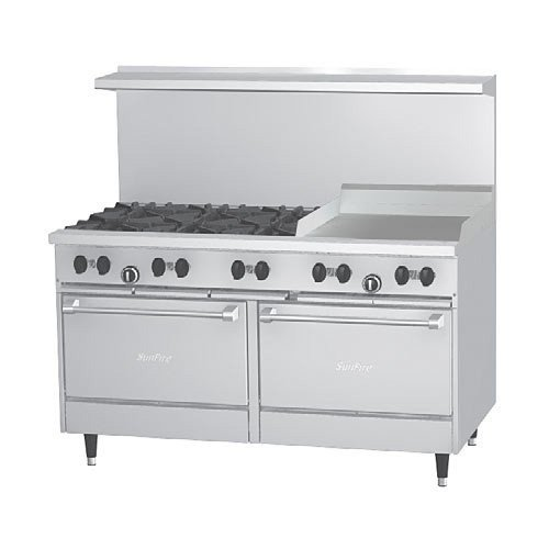 "Sunfire X606G24Rr Commercial Gas Range - Economy 60""W, 6 Burners, 2 Standard Ovens, 24"" Griddle On Right"
