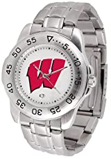 Wisconsin Badgers Mens Sport Watch Steel Band