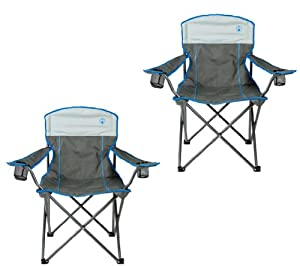 2 COLEMAN Camping Outdoor Oversized Jumbo Quad Chairs w  Cup Holders - Grey Blue by Coleman