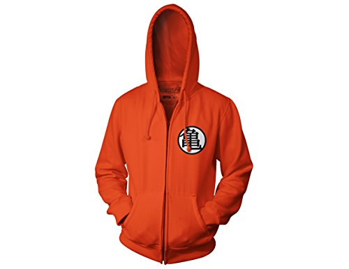 Ripple Junction Dragon Ball Z Kame Symbol Adult Zip Hooded Sweatshirt, Orange, X-Large