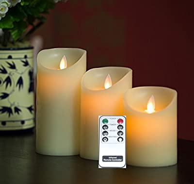 Remote Included 3 Pieces Set Moving Flame Wick Candle with Timer, Real Wax Pillar Candle in 3 Sizes, NOT Luminara but same flame effect
