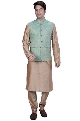 KISAH-Mens-Beige-Cotton-Silk-kurta-and-Churidar-with-Green-Cotton-Silk-Nehru-Jacket