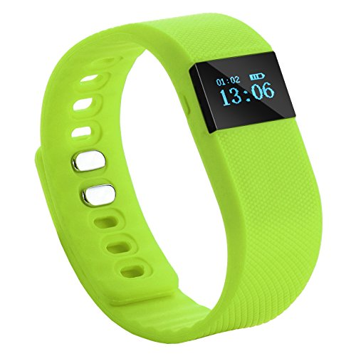Tera TW64 Bluetooth Health Smart OLED Bracelet Wristband Watch Pedometer Cell Phone Mate Green with Sleep Monitoring Calorie Calculation Distance Measurement Call Reminder