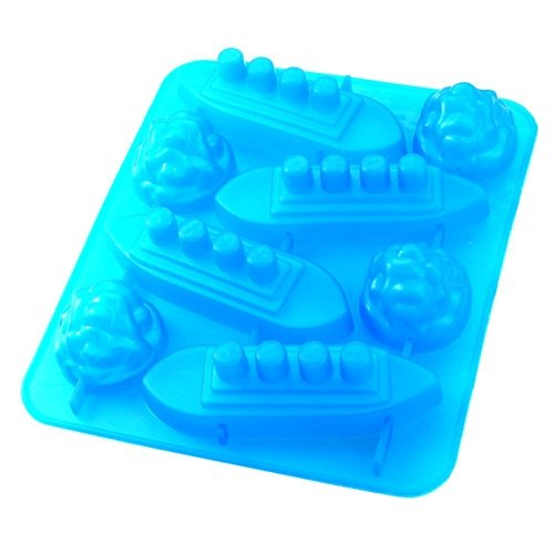 8X Novelty TPR Household Party Gin & Titanic Ship Shaped Freeze Ice Mold Tray-Blue
