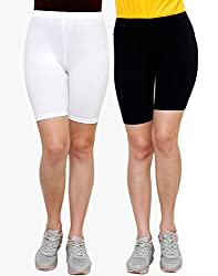 Goodtry Women's Cycling Shorts Pack of 2 Black-White