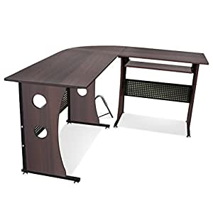 Tinxs Furniture Corner Office Desk Computer Pc Table L Shaped Home Furniture Light Dark Walnut