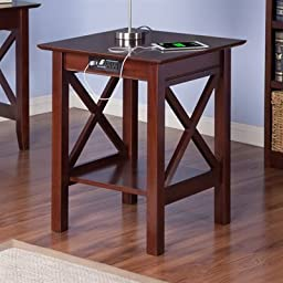 Atlantic Furniture AH10254 Lexi Printer Stand With Charger44; Antique Walnut
