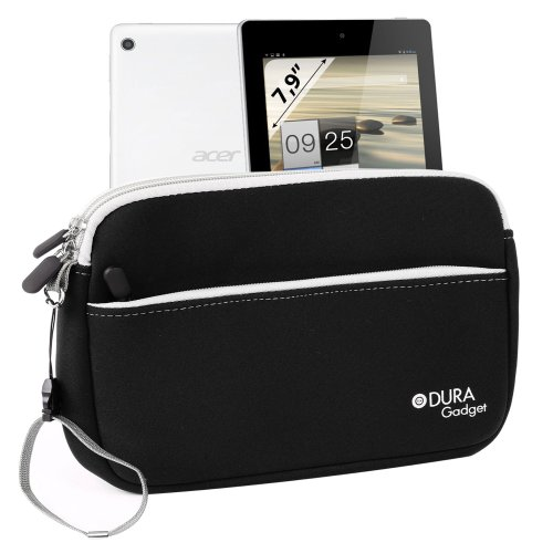 Duragadget Black Neoprene Sleeve With External Zip Pocket & Twin Zip For Acer A1-811 / Acer Iconia A1-810-L416 7.9-Inch 16 Gb Tablet