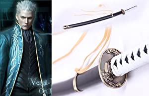 Dream2reality Cosplay Devil may cry Vergil Yamato Replica Sword T10 Clay Tempered Ultimate High Carbon Steel Full Handmade Full Tang Katana