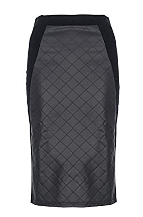 Black Quilted Midi Skirt