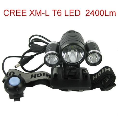 2400Lm Bike Headlight Bicycle Light, HeadLamp with 1x CREE XM-L T6 LED + 2x XPE R2 LED Light with Charger and Battery Included