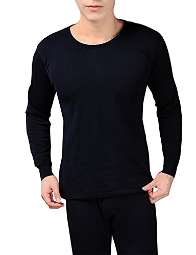 Peach Couture Mens Fleece Lined Soft Stretch Superior Warmth Thermal Underwear Pajamas 2 Piece Set (Navy XL) (Thermal Pajama Men compare prices)