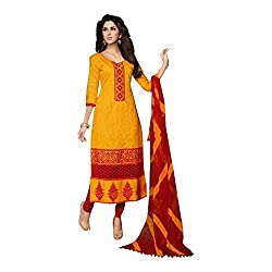 Cotton jacquard yellow churidar unstitched embroidered dress