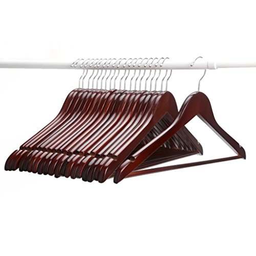 Cyber Monday Sale J.S. Hanger®Multifunctional High-Grade Solid Wood Suit Hangers, Coat Hanger with Round Bar, Walnut Finish, 20-Pack.
