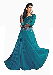 Jiya Presents Stitched Chiffon Lycra Floor Length Gown(Light Blue)