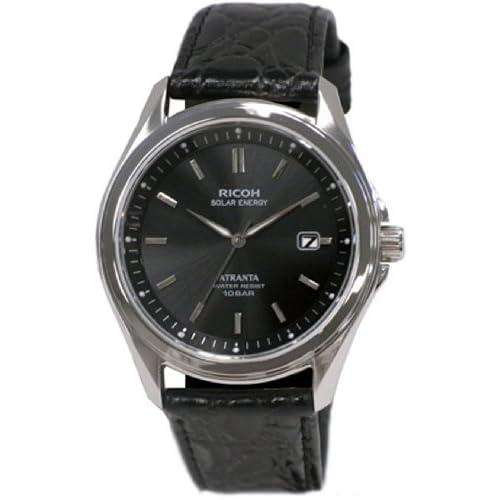 [リコー]RICOH 腕時計 ATRANTA(アトランタ) ソーラー充電 アナログ表示 スタンダード 10気圧防水 アラビアインデックス ブラック 697005-15 メンズ