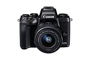 Canon EOS M5 Compact System Camera with EF-M 15 - 45 mm Lens and Adapter - Black