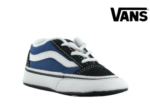 Vans Kid s Old Skool Skate Shoe (Crib) Navy White - Baby Vans Shoes cd67ff05036