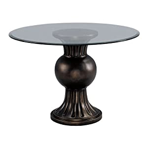 Bestseller round 46 in beveled glass dining table w for Fluted pedestal base