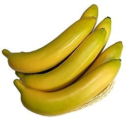 Gresorth 6pcs Artificial Yellow Banana Fake Fruit Props Toys Home Christmas Decor