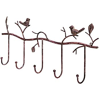 Decorative Rustic Tree Branch & Birds Wall Mounted Metal 5 Coat Hook Clothing / Towel Hanger Storage Rack