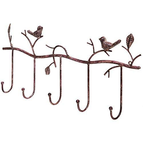 Decorative Rustic Tree Branch & Birds Wall Mounted Metal 5 Coat Hook Clothing / Towel Hanger Storage Rack