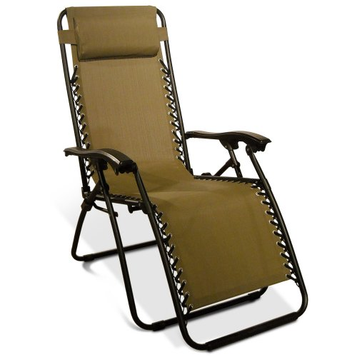 Caravan Canopy Zero Gravity Reclining Chair with Adjustable Headrest, Beige