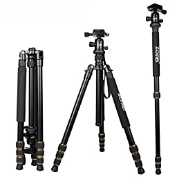 ZOMEI Magnesium Alloy with Compact Ball Head Quick Release Plate Camera Tripod / Monopod with Carry Bag for Canon,Sony, Nikon------Q666