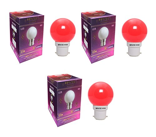 0.5W LED Bulbs (Red, Pack of 3)