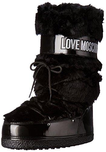 LOVE MOSCHINO moon boot doposci pelo pelliccia TESSUTO NERO BLACK 36