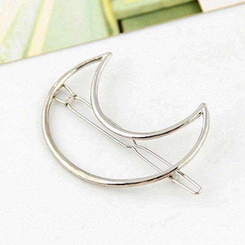 ANKKO 1 pezzi Moda cava Luna metallo Forcine Perni di capelli Fermaglio per capelli (Argento)