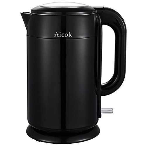 Buy Aicok Stainless Steel Cordless Kettle Double Wall Electric Kettle, 1.7 Liter / 1.8 Quart, Black