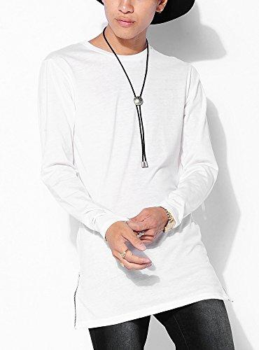 ホワイト L (ベストマート)BestMart ラウンド サイドZIP クルーネック ロング丈Tシャツ 長袖 ロング ロング丈 ロンT Tシャツ メンズ 長そで 7分袖 7分 七分袖 七分 ストレッチ Uネック Vネック カットソー コットン 綿 サイドジップ サイド切り込み サイドスリット ビッグサイズ サイズ ビックサイズ BIG ビッグ ビック シルエット BIGシルエット ビックシルエット ビッグシルエット 丈長Tシャツ 丈長ロンT スポーツ ロングTシャツ 丈長めTシャツ 長めTシャツ 長め 長い 丈長 トップス 丈の長いTシャツ 丈が長いTシャツTシャツ 無地 ドレープ メッシュ S M L XL LL 春 夏 秋 冬 620009-006-201