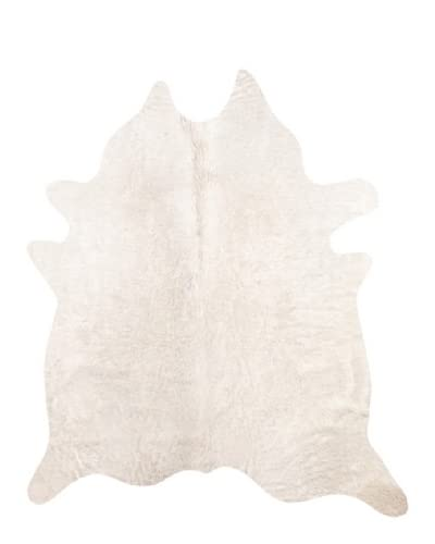 Natural Brand Geneva Cowhide Rug, Off-White, 6' x 7'
