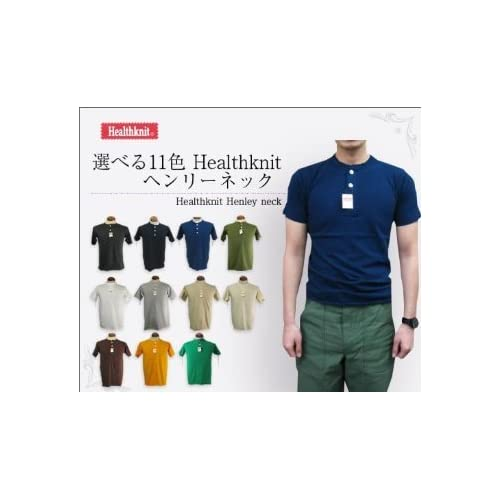 Healthnit(ヘルスニット) ヘンリーネックTシャツ 906 11色展開 アメリカンコットンを使用した男らしい1着 (ヘザーグレー, Mサイズ)