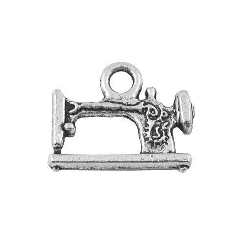Paket 10 x Antik Silber Tibetanische 19mm Charms Anhänger (Nähmaschine) - (ZX03195) - Charming Beads